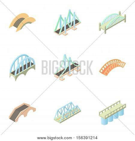 Crossing river icons set. Cartoon illustration of 9 crossing river vector icons for web