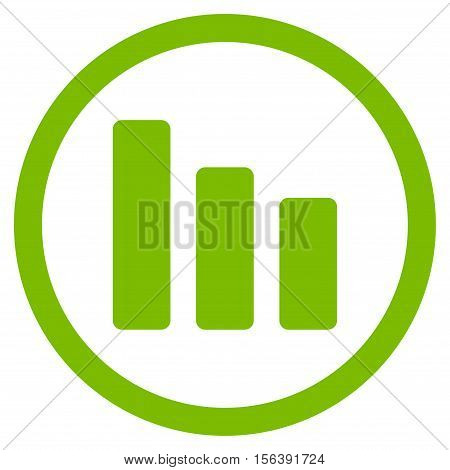 Bar Chart Decrease vector rounded icon. Image style is a flat icon symbol inside a circle, eco green color, white background.