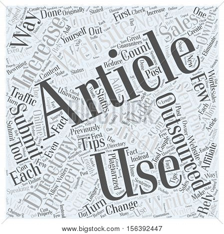 Tips for Submitting Outsourced Articles to Directories word cloud concept