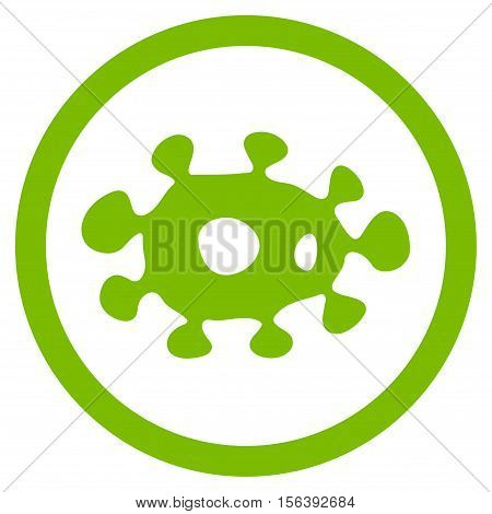 Virus vector rounded icon. Image style is a flat icon symbol inside a circle, eco green color, white background.