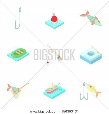 Fishery icons set. Cartoon illustration of 9 fishery vector icons for web