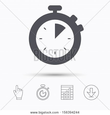 Stopwatch icon. Timer or clock device symbol. Stopwatch timer. Hand click, report chart and download arrow. Linear icons. Vector