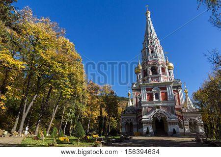 Russian church (Monastery Nativity) in town of Shipka, Stara Zagora Region, Bulgaria