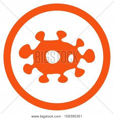 Virus vector rounded icon. Image style is a flat icon symbol inside a circle, orange color, white background.