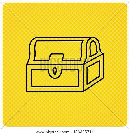Treasure chest icon. Piratic treasury sign. Wealth symbol. Linear icon on orange background. Vector