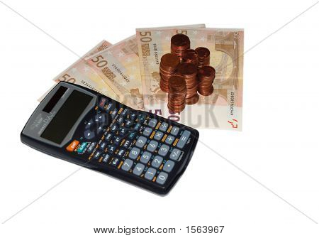 Banknotes, Coins And Calculating Machine