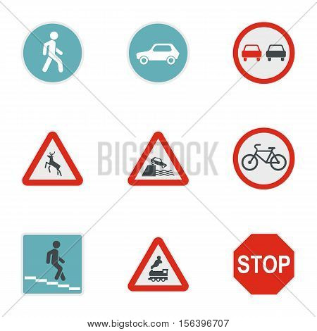 Sign warning icons set. Flat illustration of 9 sign warning vector icons for web