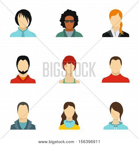 Avatar of different people icons set. Flat illustration of 9 avatar of different people vector icons for web