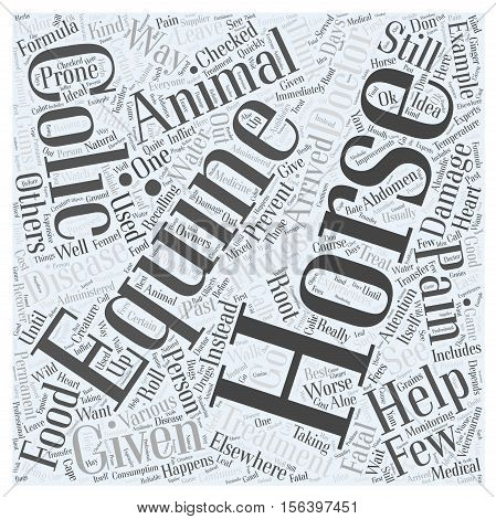 Treatment for Horse Colic word cloud concept text background
