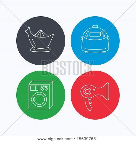 Washing machine, multicooker and hair dryer icons. Washing machine linear sign. Linear icons on colored buttons. Flat web symbols. Vector