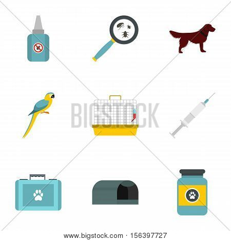 Veterinary icons set. Flat illustration of 9 veterinary vector icons for web