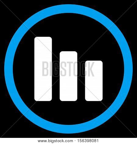 Bar Chart Decrease vector bicolor rounded icon. Image style is a flat icon symbol inside a circle, blue and white colors, black background.