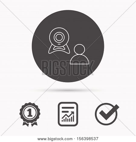 Video chat icon. Webcam chatting sign. Web conference symbol. Report document, winner award and tick. Round circle button with icon. Vector