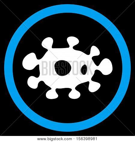 Virus vector bicolor rounded icon. Image style is a flat icon symbol inside a circle, blue and white colors, black background.