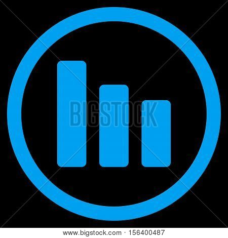 Bar Chart Decrease vector rounded icon. Image style is a flat icon symbol inside a circle, blue color, black background.