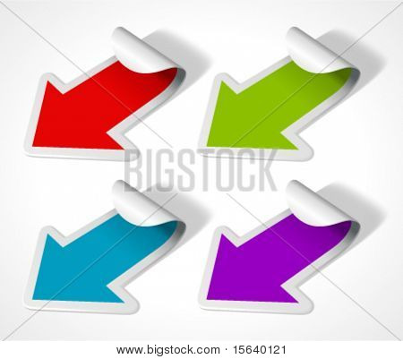 Vector arrow stickers set. Transparent shadow easy replace background and edit colors.