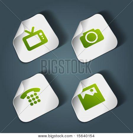 Vektor-Icons auf Aufkleber-set 4. Transparente Schatten einfach ersetzen Hintergrund und Farben zu bearbeiten.