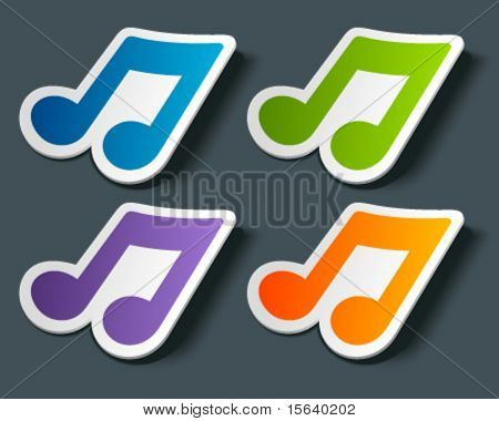Vector music note icon on sticker set. Transparent shadow easy replace background and edit colors.