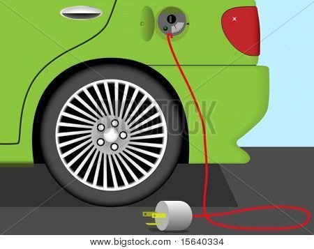 Vector illustration of rear part of electric car. Earth friendly technology.