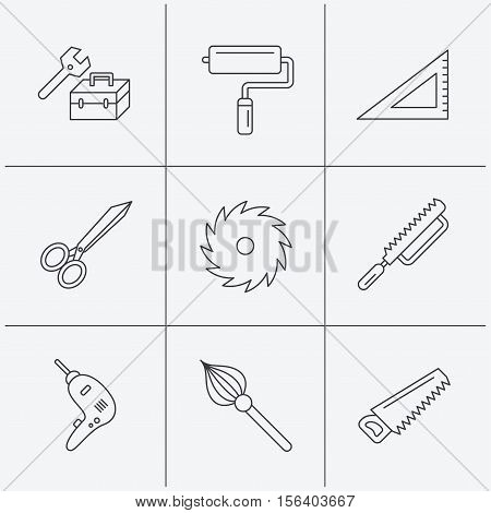 Scissors, paint roller and repair tools icons. Fretsaw, circular saw and brush linear signs. Triangular rule, drill icons. Linear icons on white background. Vector