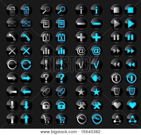 Set of stylish black glass buttons with web icons in active and inactive state.