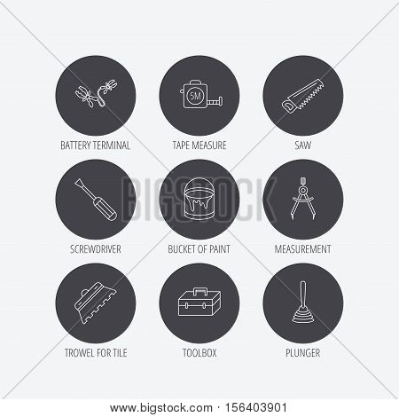 Screwdriver, plunger and repair toolbox icons. Trowel for tile, bucket of paint linear signs. Measurement, battery terminal icons. Linear icons in circle buttons. Flat web symbols. Vector