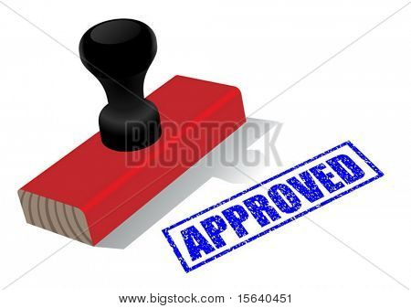 "Vector illustration of wooden rubber stamp with ""approved""  impress isolated on white background"