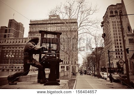 PHILADELPHIA, PENNSYLVANIA - MAR 26: City street view with statue on March 26, 2015 in Philadelphia. It is the largest city in Pennsylvania and the fifth in the United States.