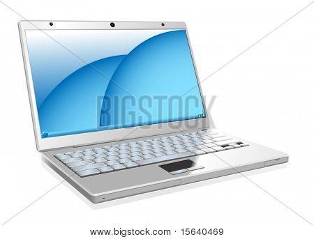 Ilustración de vector de trabajo portátil blanco aislado sobre fondo blanco
