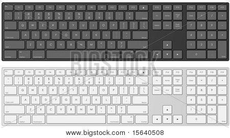 Ilustración de vector de teclado de la computadora moderna en color blanco y negro.