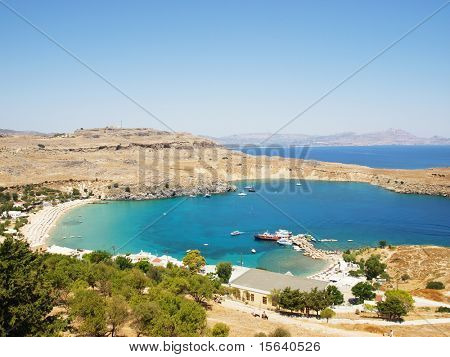 View at Lindou Bay from Lindos acropolis. Rhodes island, Greece.