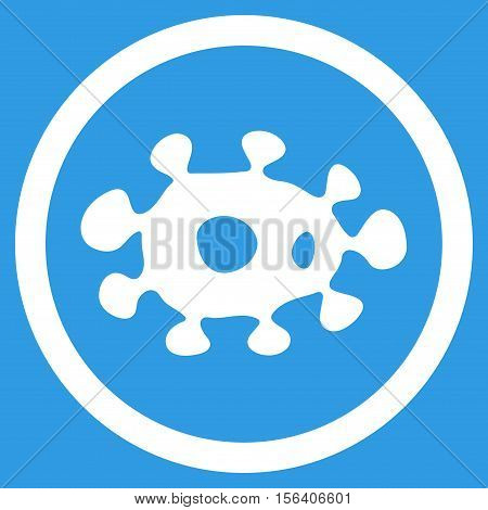 Virus vector rounded icon. Image style is a flat icon symbol inside a circle, white color, blue background.