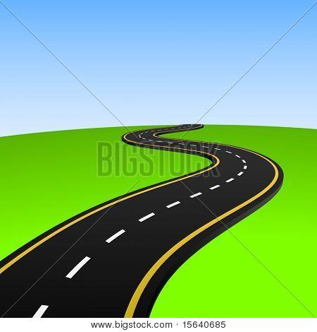 Ilustración de vector de carretera abstracta al horizonte.