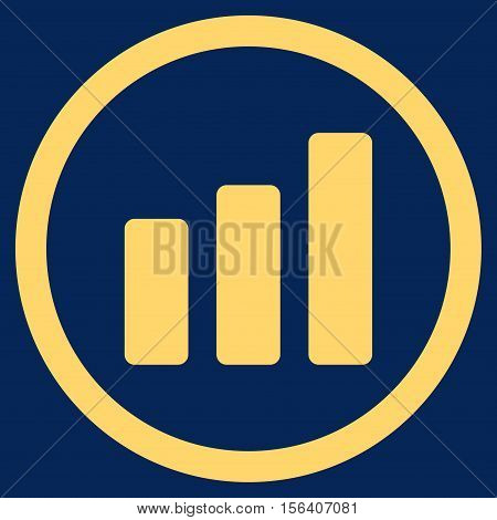 Bar Chart Increase vector rounded icon. Image style is a flat icon symbol inside a circle, yellow color, blue background.