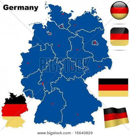 Germany vector set. Detailed country shape with region borders, flags and icons isolated on white background.