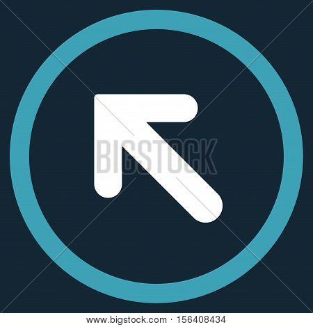 Arrow Left-Up vector bicolor rounded icon. Image style is a flat icon symbol inside a circle, blue and white colors, dark blue background.