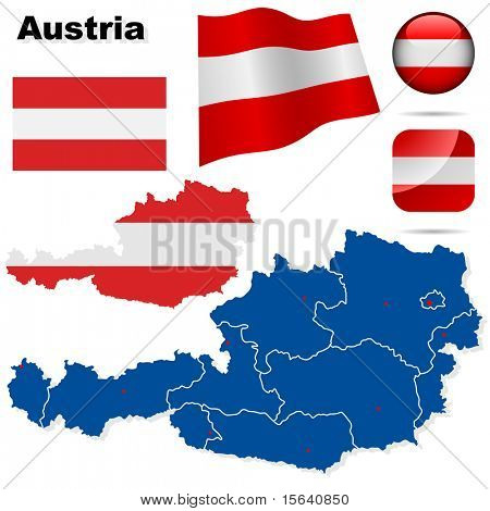 Austria vector set. Detailed country shape with region borders, flags and icons isolated on white background.