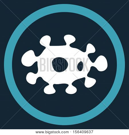 Virus vector bicolor rounded icon. Image style is a flat icon symbol inside a circle, blue and white colors, dark blue background.