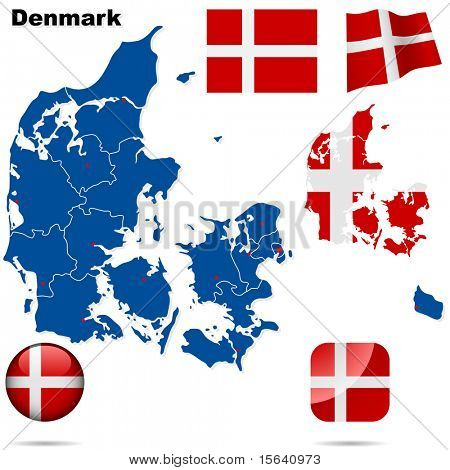 Denmark vector set. Detailed country shape with region borders, flags and icons isolated on white background.