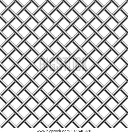 Nahtlose Chrom geflochtene Diagonale Grill isolated on White.