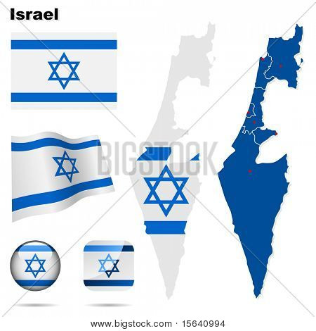 Israel  vector set. Detailed country shape with region borders, flags and icons isolated on white background.