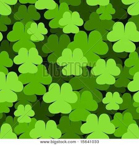 Seamless green shamrock Saint Patrick's Day pattern.
