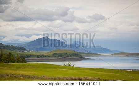 Trotternish panorama from a distance on the Isle of Skye Scotland