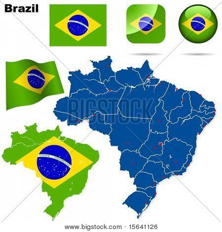 Conjunto de vectores de Brasil. Forma detallada del país con las fronteras de la región, banderas e iconos aislados en blanco bac