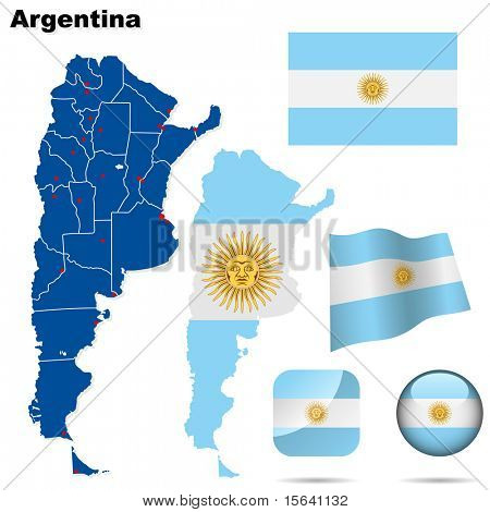 Argentina vector set. Detailed country shape with region borders, flags and icons isolated on white background.
