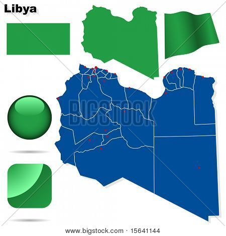 Libya vector set. Detailed country shape with region borders, flags and icons isolated on white background.