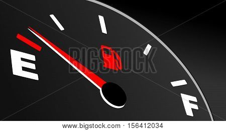 Fuel gauge showing empty tank. Fuel indicator on black background.