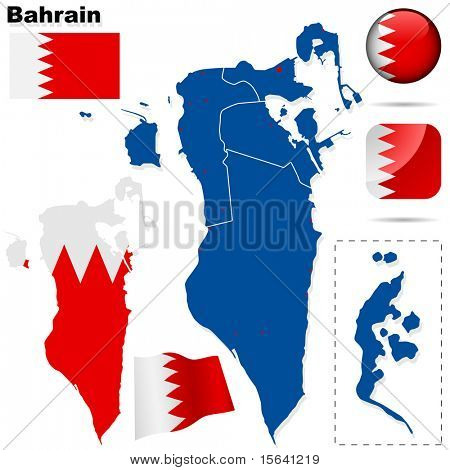 Bahrain vector set. Detailed country shape with region borders, flags and icons isolated on white background.