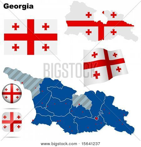 Georgia vector set. Detailed country shape with region borders, flags and icons isolated on white background.