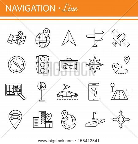 Simple Set of Route Related Vector Line Icons. Outline web icons set - location,  navigation, transportation.